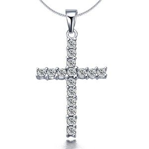Silver Cross Necklace with Crystals